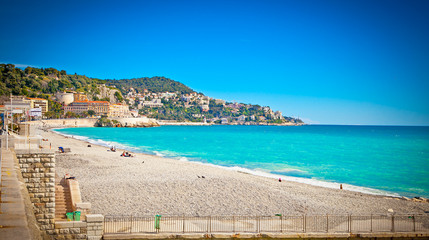 View of the beach in Nice, France.