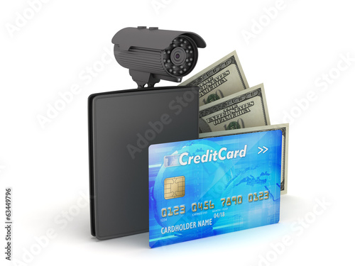 Credit card, dollar bills, wallet and monitoring camera
