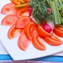 sliced fresh vegetables on the plate