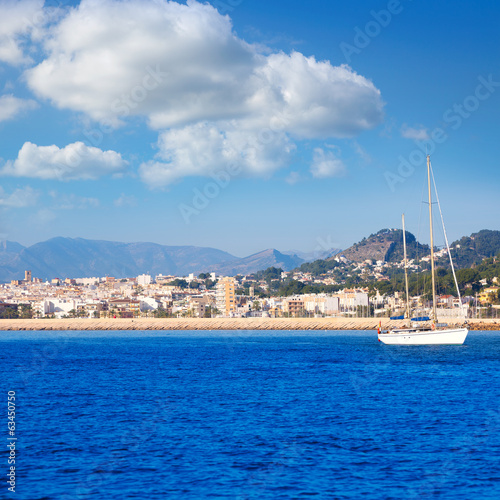 Javea Xabia skyline from Mediterranean sea Spain