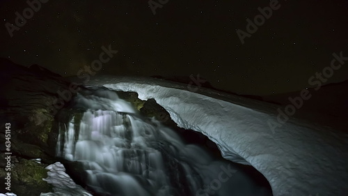 timelapse night on icy waterfall