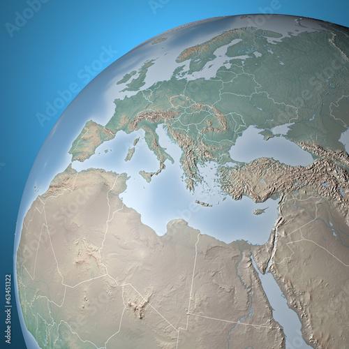 Planisfero mappa globo Europa e Nord Africa