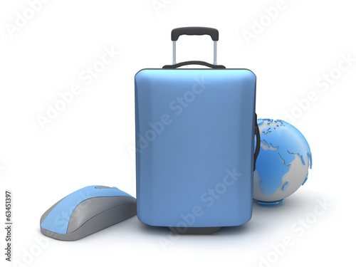 Suitcase, computer mouse and earth globe on white background