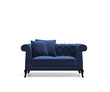 Isolated blue capitonet velvet sofa