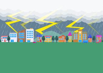 雷が落ちる街