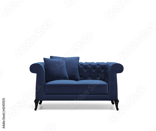 canvas print picture Isolated blue capitonet velvet sofa