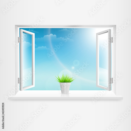 Open White Window With Flowerpot.