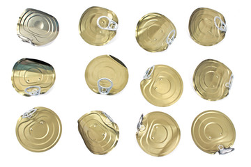 Tin can lids with opener isolated on white