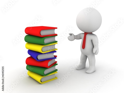 3D Character showing stack of books