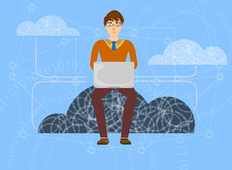 Cloud save in progress computing vector cartoon background