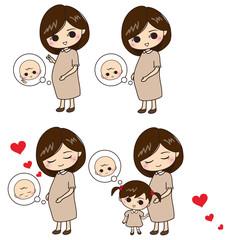 赤ちゃんを心待ちにしている妊婦さんと子供