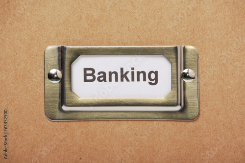 Banking Storage Label on a cardboard drawer or box