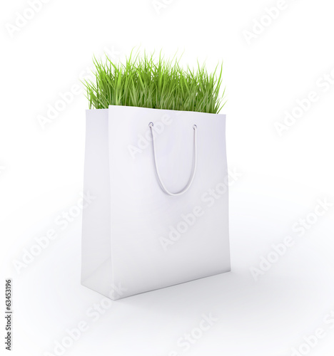 Shopping carry bag with fresh grass