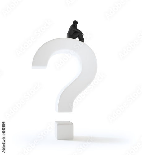 Tiny man sitting on a question mark