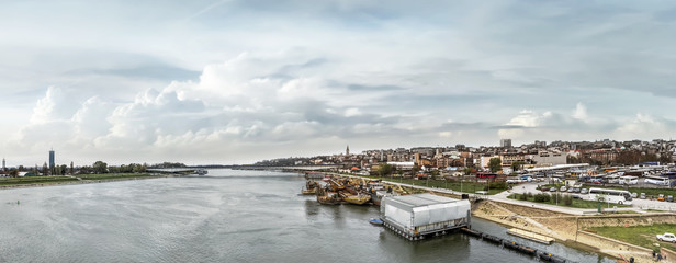 Belgrade Cloudy Panorama With Branko's Bridge, Ship Winter Shelt