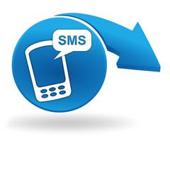 sms sur bouton bleu