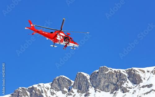 Deurstickers Helicopter Rettungshubschrauber