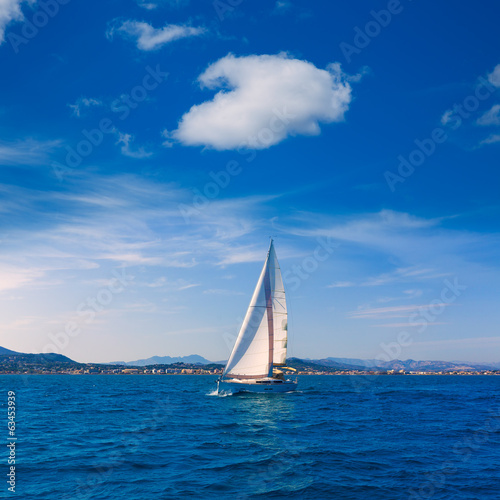 Javea sailboat sailing in Mediterranean Alicante Spain