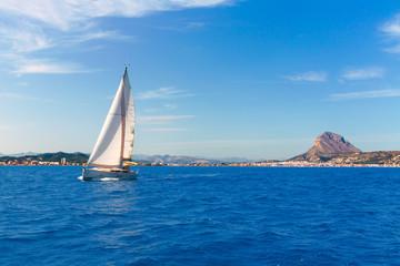 Javea sailboat sailing in Mediterranean Alicante Spain