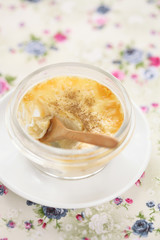 Creme Brulee in transparent pot