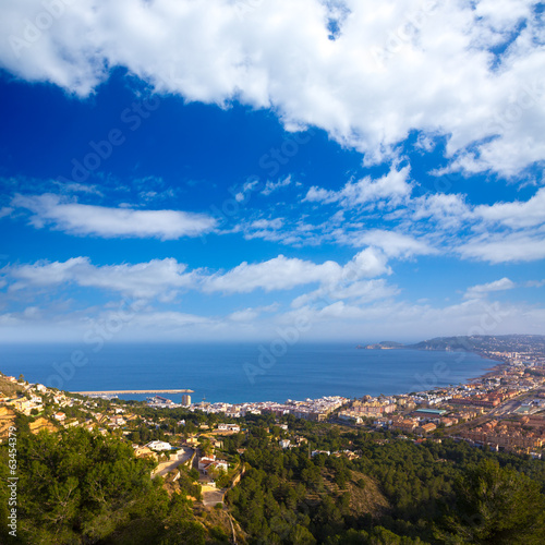 Javea Xabia aerial skyline from Molins Alicante Spain