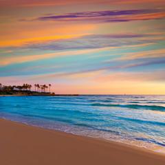 Javea El Arenal beach sunrise Mediterranean Spain
