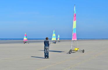 la leçon de char à voile à Sainte-Cécile plage