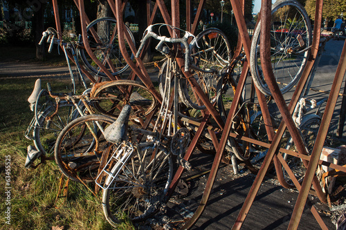 Old rusting bicycles