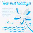 Cutout paper flower summer vector background