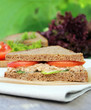 Summer picnic snack sandwich with rye bread