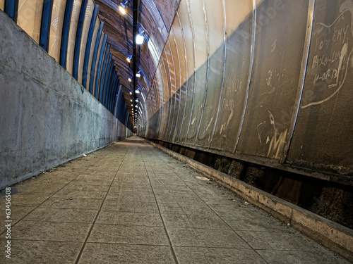 Tunnel, urban landscape with rubbish - dirty and neglected