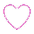 Double diamond pink metallic chain shaped in heart form.