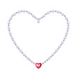 Silver bead chain - heart with diamonds and red heart gemstone.