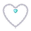 Silver chain - heart form with white heart-shaped gemstone.