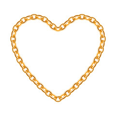 Golden chain shaped in heart form.