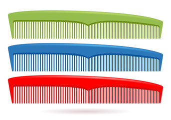 Set of hair combs isolated on white background.