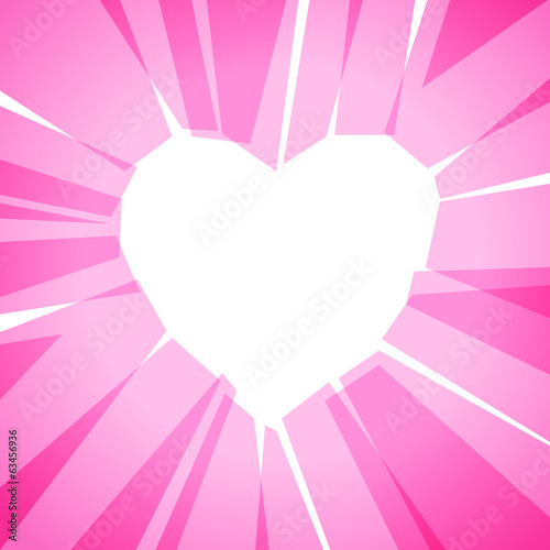 Heart silhouette collected of pink transparent color blocks.