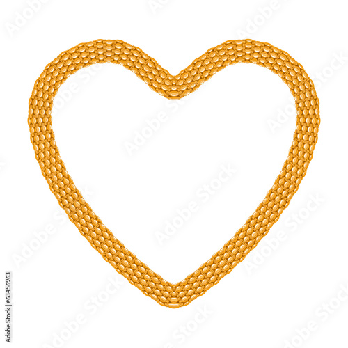Thick golden chain shaped in heart form.