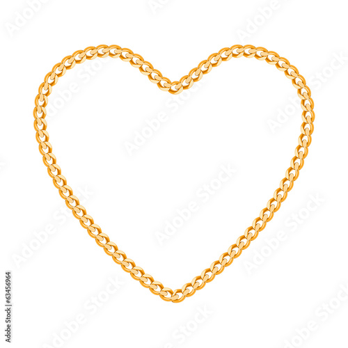 Thin golden chain shaped in heart form.