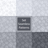 Set seamless patterns with email in grey colors