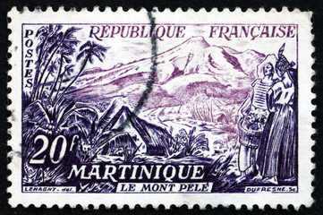 Postage stamp France 1955 Mount Pelee, Martinique
