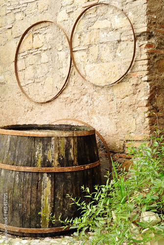 Old barrel in an old italian village