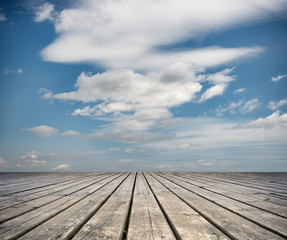 Floor of wooden planks