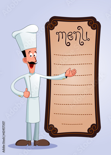 friendly chef with a big mustache offering menu