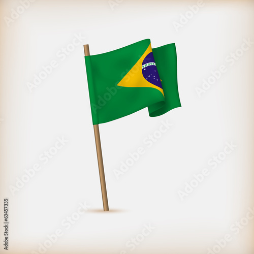 Realistic Flag Of Brazil. Vector