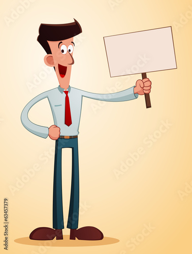 smiling businessman giving an information with a talkingboard
