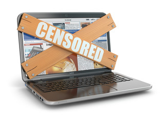 Concept of censure. Boarded up laptop,