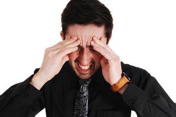 Man with heavy headache.