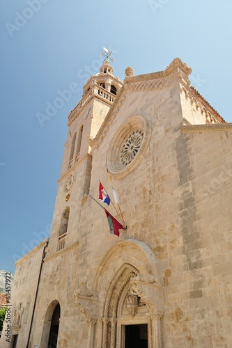 The cathedral of St Marco in the center of Korcula city, Croatia