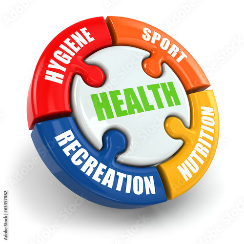 Medical infographic. Health is sport, hygiene, nutrition and rec